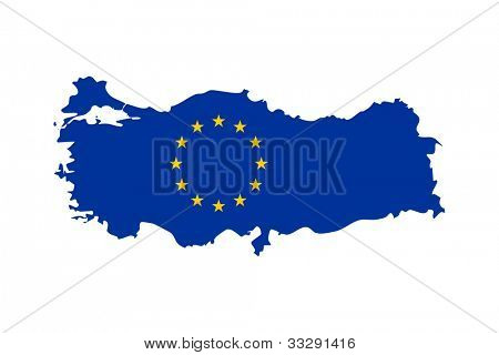 European flag on mag of Turkey; isolated on white background.