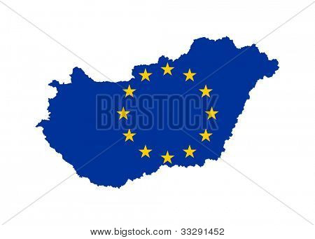 European flag on mag of Hungary; isolated on white background.