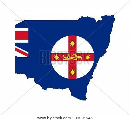 State flag of New South Wales Australia on map; isolated on white background.