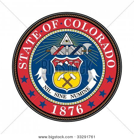 Seal of American state of Colorado; isolated on white background.