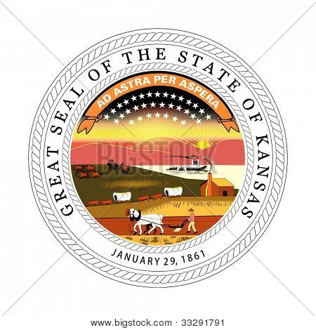 Seal of American state of Kansas; isolated on white background.