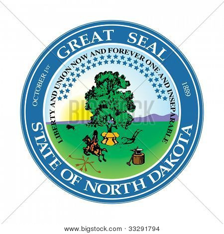 Seal of American state of North Dakota; isolated on white background.