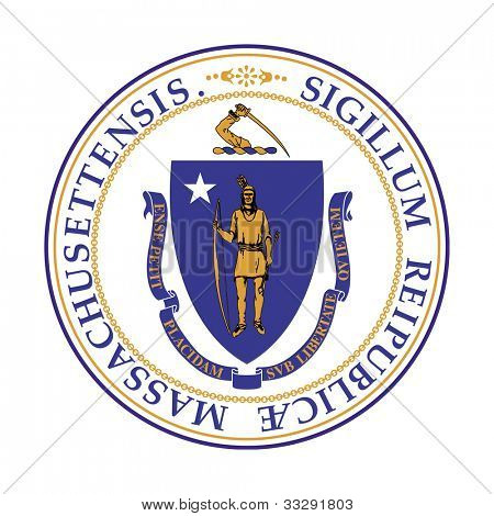 Seal of American state of Massachusetts; isolated on white background.