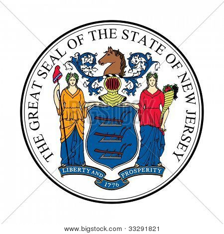 Seal of American state of New Jersey; isolated on white background.