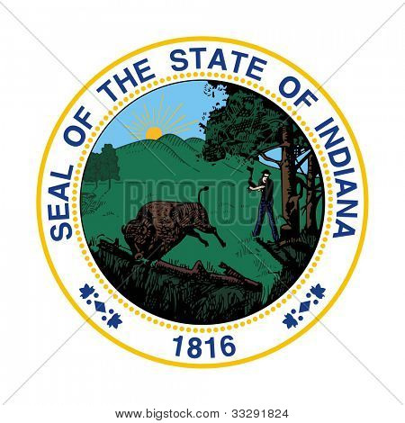 Seal of American state of Indiana; isolated on white background.