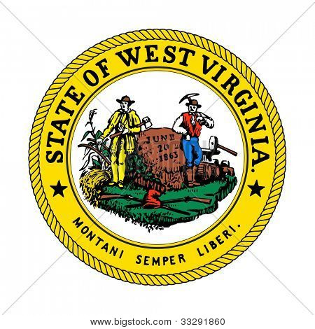 Seal of American state of West Virginia; isolated on white background.