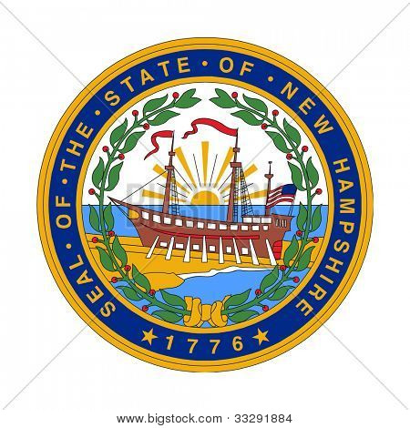 Seal of American state of New Hampshire; isolated on white background.