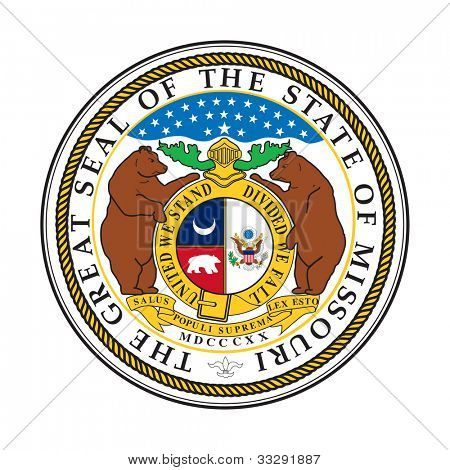 Seal of American state of Missouri; isolated on white background.