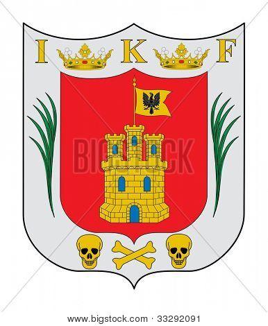 Escudo del estado mexicano de Tlaxcala; aislado sobre fondo blanco.