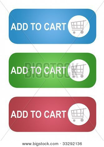 Set of Add to shopping cart buttons; isolated on white background.