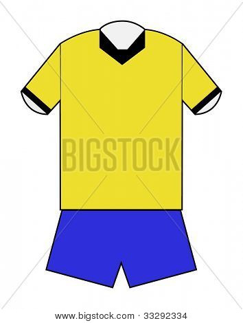 Yellow and blue football kit with clipping path on white background.