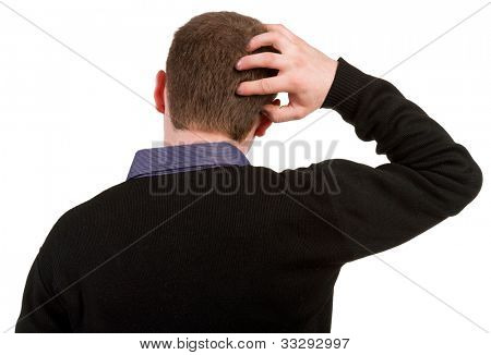 Back view of thinking business man. Close up. gesticulating adult businessman in black suit . Rear view people collection.  backside view of person.  Isolated over white background.