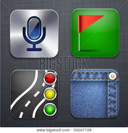 Vector illustration of high-detailed apps icon set over linen texture.