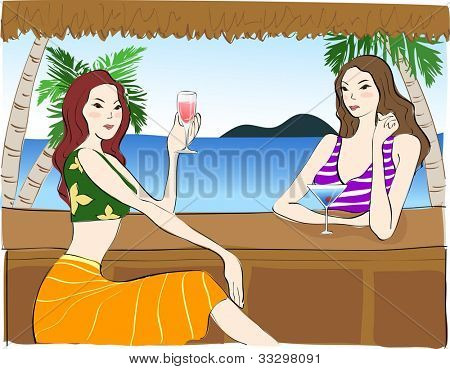 Summer Holiday and Happy Travel - enjoy relaxed lifestyle with beautiful young female and sweet beverage in tropical island resort background with blue water
