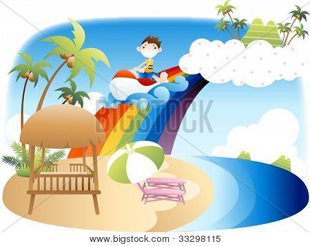 Exciting Summer Vacation and Happy Travel - playing water recreation with cute funny young boy in beautiful tropical paradise resort background with blue sky and pretty scenery