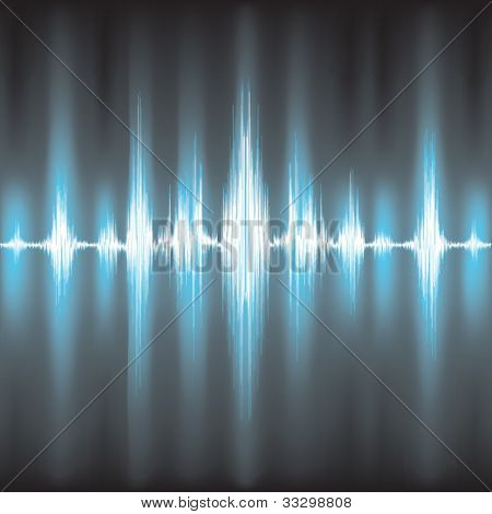 Sound waves oscillating on black background