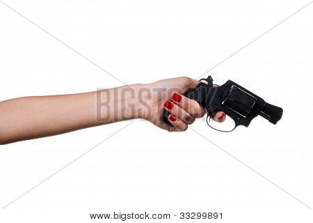 Woman hand holding revolver handgun