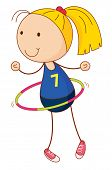 stock photo of hulahoop  - Cartoon of an active kid  - JPG