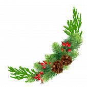 Christmas Wreath With Bump, Fir Branches, Cypress, Red Rosehip Berries Christmas Decorations. Design poster