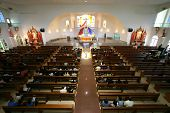 stock photo of church interior  - view from above of a new catholic church - JPG