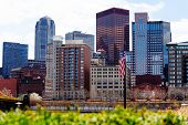 Us National Flag And Downtown Buildings, Pittsburg poster