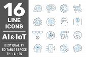 Artificial Intelligence And Iot Thin Icons Set. Ai, Iot, Iiot, Factory 4.0. Binary Code, Robot, Micr poster