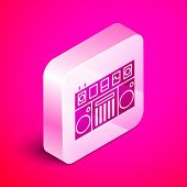 Isometric Dj Remote For Playing And Mixing Music Icon Isolated On Pink Background. Dj Mixer Complete poster