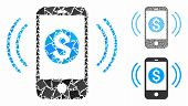 Payment Phone Ring Mosaic Of Inequal Elements In Different Sizes And Color Hues, Based On Payment Ph poster