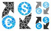 Currency Change Mosaic Of Tuberous Parts In Variable Sizes And Shades, Based On Currency Change Icon poster