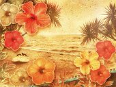 picture of hibiscus  - tropical retro beach setting decorated with hibiscus flowers - JPG