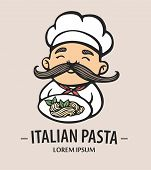 Pasta Logo. Hand Drawn Vector Illustration Of Chef-cooker With A Mustache And Plate With Spaghetti.  poster