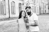 Romantic Date. Guy Prepared Surprise Bouquet For Girlfriend. True Feelings. Pick Up Girl For Date. B poster