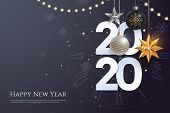 Happy New Year 2020 Greeting Card Template With Copy Space. Hanging Christmas Toys And Garlands With poster