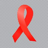 World Aids Day. Red Ribbon Isolated On Transparent Background. World Aids Day poster