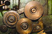 Gears Of Industrial Machine. Detail Of Mechanism. Old Cogwheels Of Machinery poster