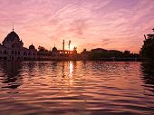 Tranquil City Park Lake In Orange Sunset, Budapest, Hungary poster