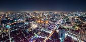 Aerial Panoramic Cityscape View Of Bangkok With Street Lights At Night poster