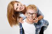 Portrait Of A Beautiful Young Happy Smiling Elegant Couple - Isolated Mock Up, Background People.b E poster