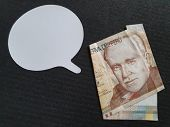 Business Conversation, Peruvian Banknote Of Twenty Soles And Dialogue Icon poster