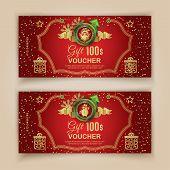 Christmas Red Voucher Template With Santa In Emblem, Snoqman In Emblem . Value 100 Dollars For Depar poster