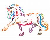 Colorful Decorative Portrait Of Pony Steps In Profile, Training Pony. Vector Isolated Illustration I poster