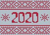 Vector Seamless Nordic Knitting Pattern In Red And White Colors. poster