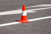 Work On Road. Construction Cone. Traffic Cone, With White And Orange Stripes On Asphalt. Street And  poster