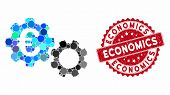 Mosaic Euro Mechanics And Grunge Stamp Seal With Economics Text. Mosaic Vector Is Created With Euro  poster
