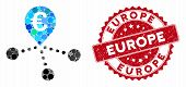 Mosaic Euro Bank Branches And Distressed Stamp Watermark With Europe Text. Mosaic Vector Is Formed W poster