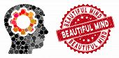 Mosaic Human Mind Gear And Rubber Stamp Seal With Beautiful Mind Text. Mosaic Vector Is Designed Wit poster