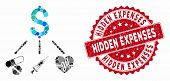 Mosaic Medical Budget And Rubber Stamp Seal With Hidden Expenses Text. Mosaic Vector Is Composed Wit poster