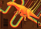stock photo of godzilla  - Funky design featuring a bright orange Tyrannosaurus Rex - JPG