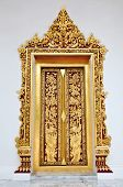 stock photo of woodcarving  - Door woodcarving in temple Thailand - JPG