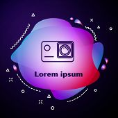 Purple Line Action Extreme Camera Icon Isolated On Dark Blue Background. Video Camera Equipment For  poster